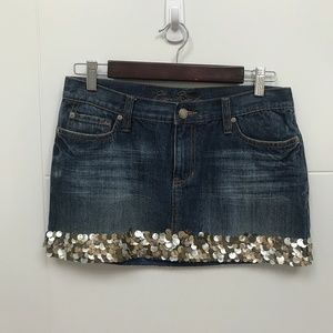 Ezra Fitch Denim Skirt with Seashell Hem